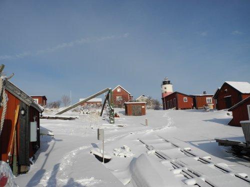 Ön i snötäcke